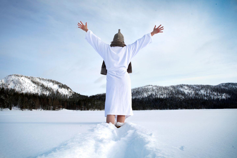 Enjoying the snow after sauna in Ruka, Finland