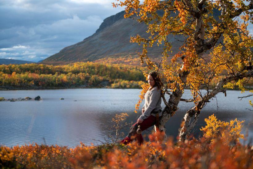 Colorful autumn foliage at Mt. Saana in Kilpisjärvi Finland
