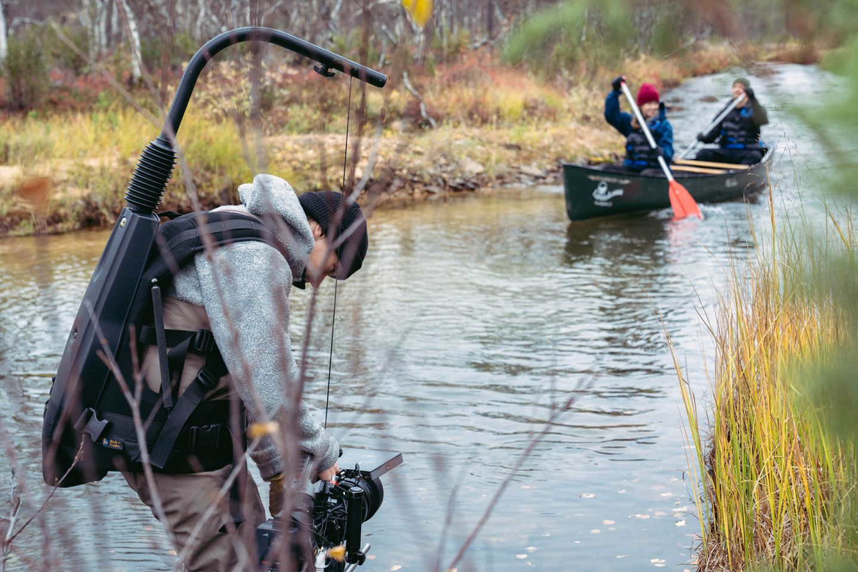 Filming riverside