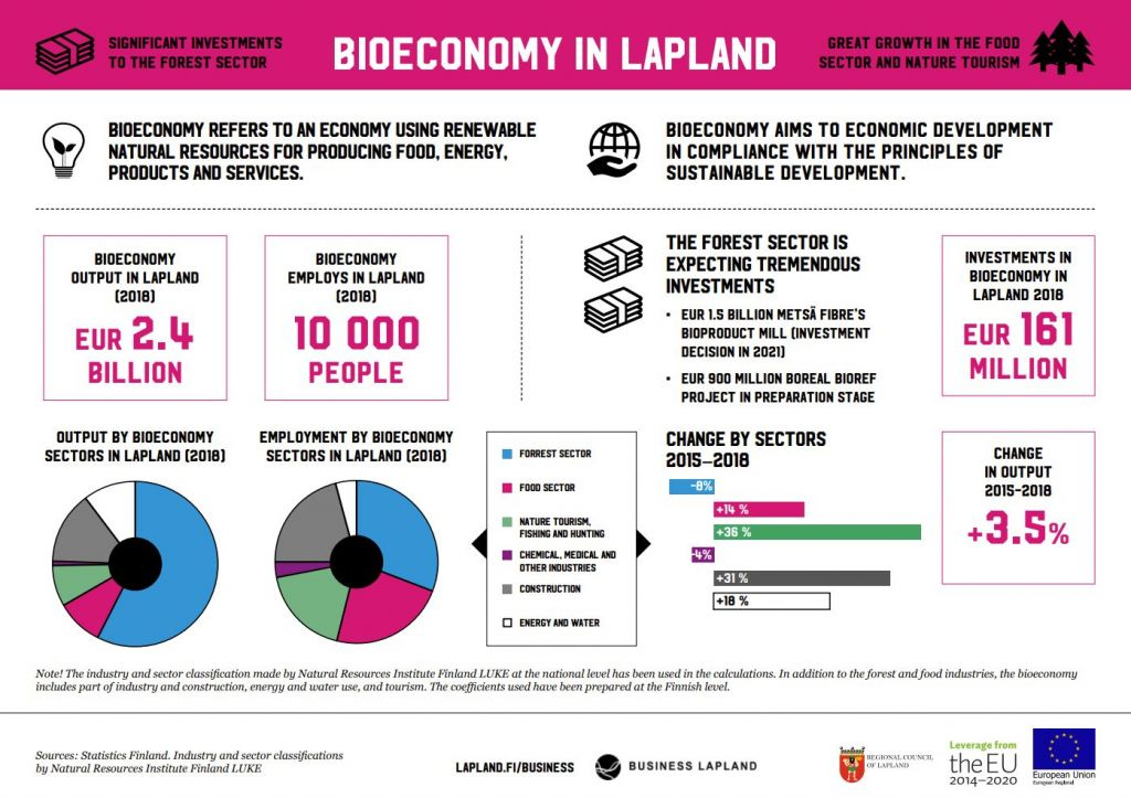 Infographic about bioeconomy in Lapland