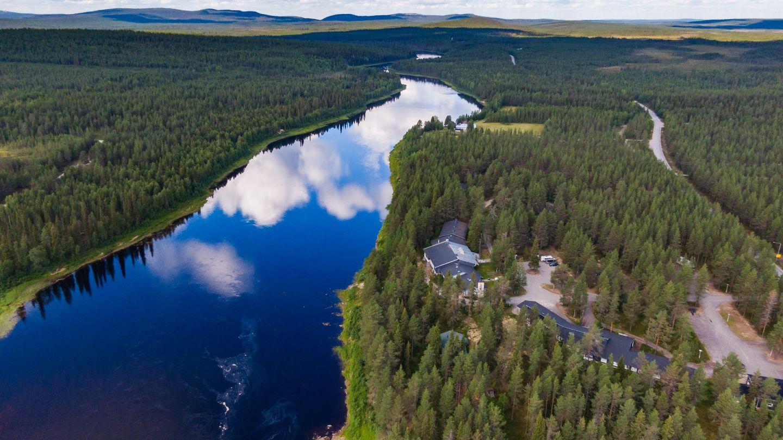 Bird's eye view of the Arctic wilderness of Savukoski, Finland