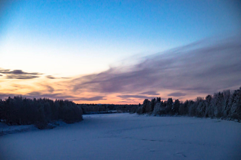Polar night in the Arctic wilderness of Savukoski, Finland