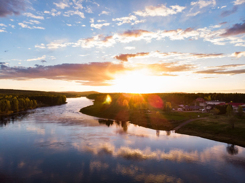 A river cuts through the Arctic wilderness of Savukoski, Finland