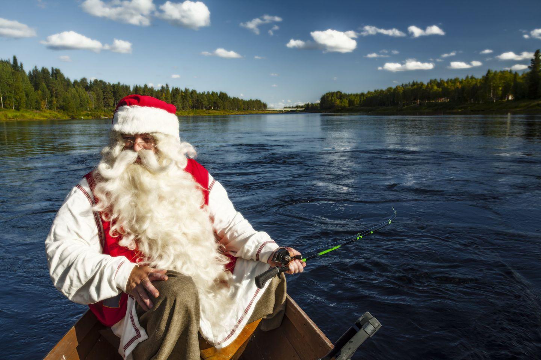 Santa enjoying a summer day on the water in Savukoski, Finland