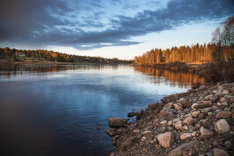A crisp blue day in the Arctic wilderness of Savukoski, Finland