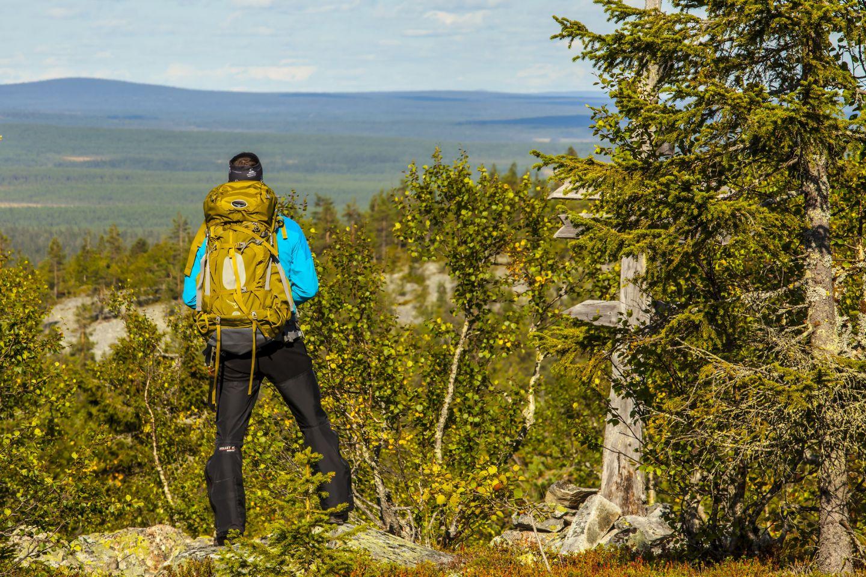 Hiking in the Arctic wilderness in Savukoski, Finland