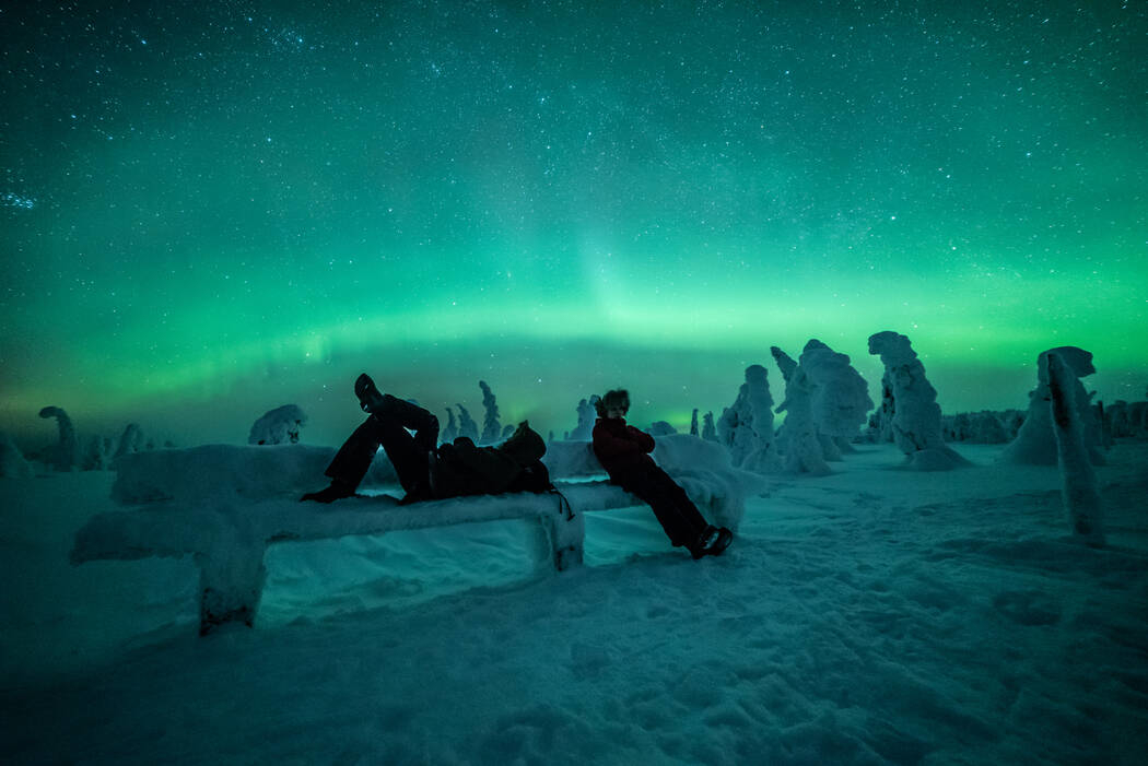 Watching the Northern Lights in Lapland, at Riisitunturi National Park in Posio