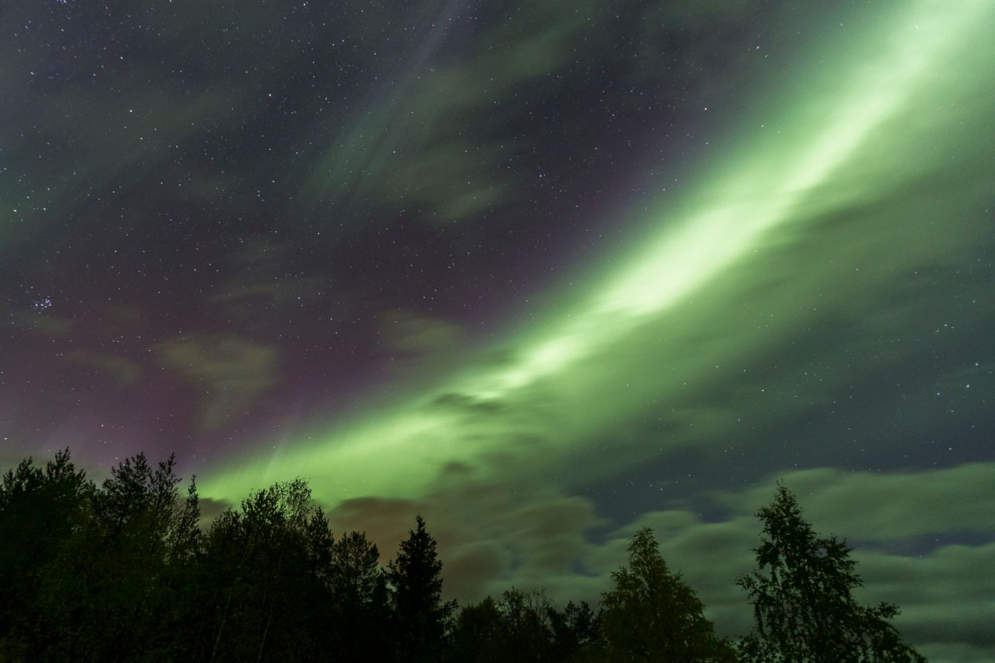 The Northern Lights, as seen from Arctic Fox Igloos in Ranua, northern Finland