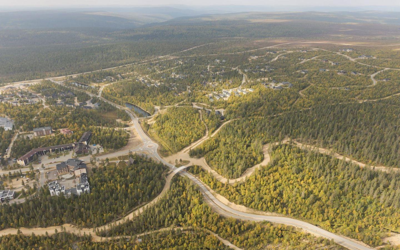 Investointikohde ilmakuva hotelli Kaunispää-hanke Saariselällä