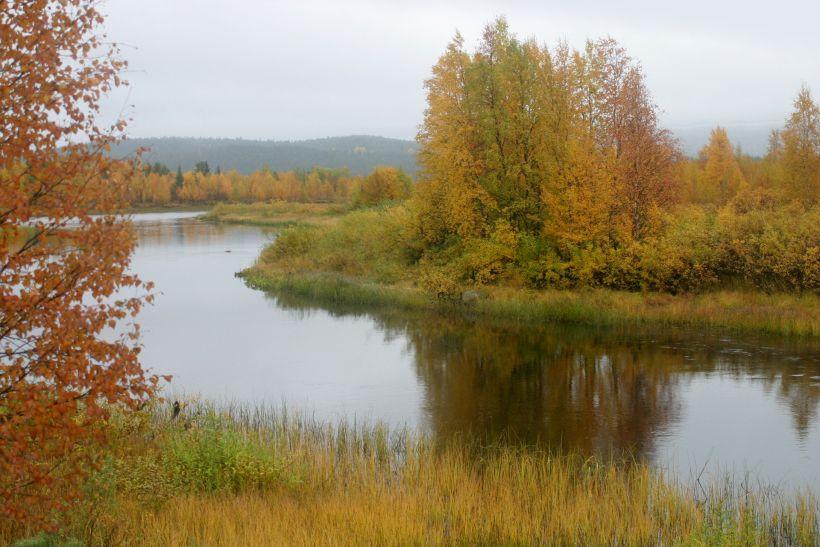 Äkäsjoki River in Kolari, Lapland, Finland in autumn