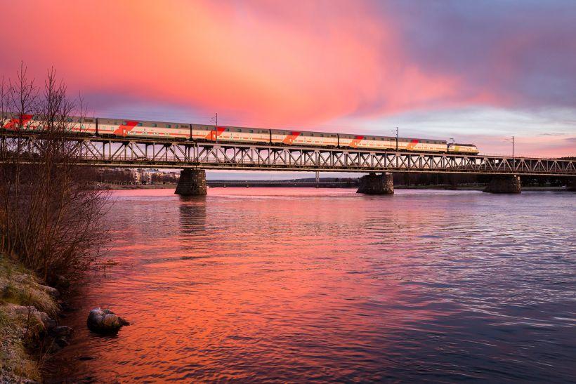 Ounaskoski Bridge in Rovaniemi, Lapland, Finland