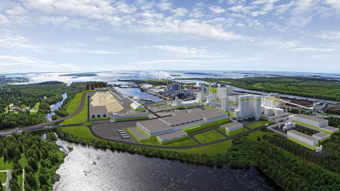 A digital picture of the planned bioproduct mill by Metsä Fibre in Kemi