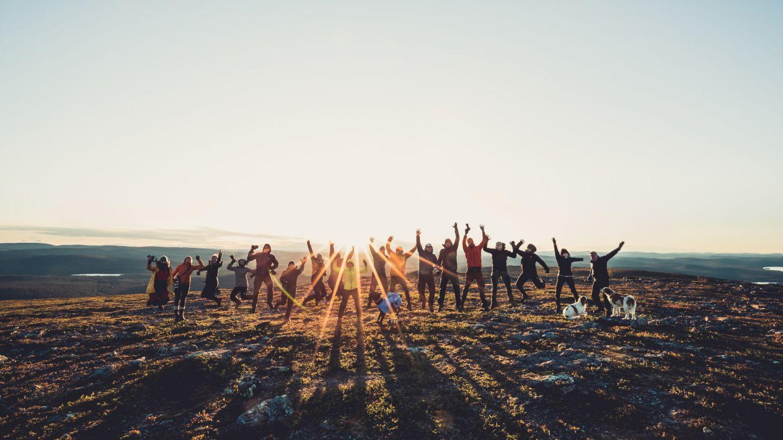 Celebration in Lemmonjoki National Park in Inari, Finland