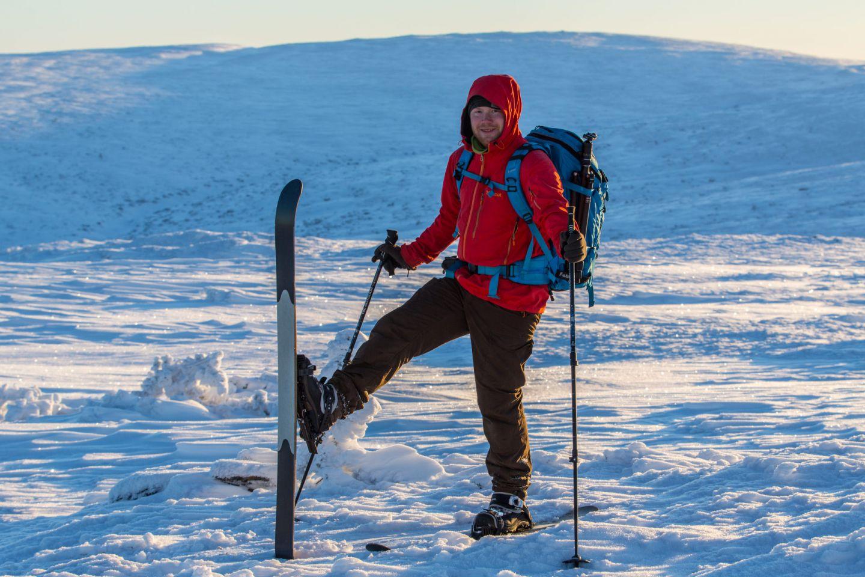 Enjoying the spring sun atop skis in UKK National Park in Finnish Lapland
