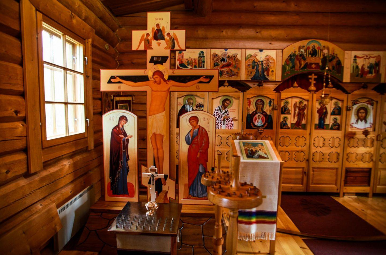 Religious exhibit at Nellim in Inari, Finland