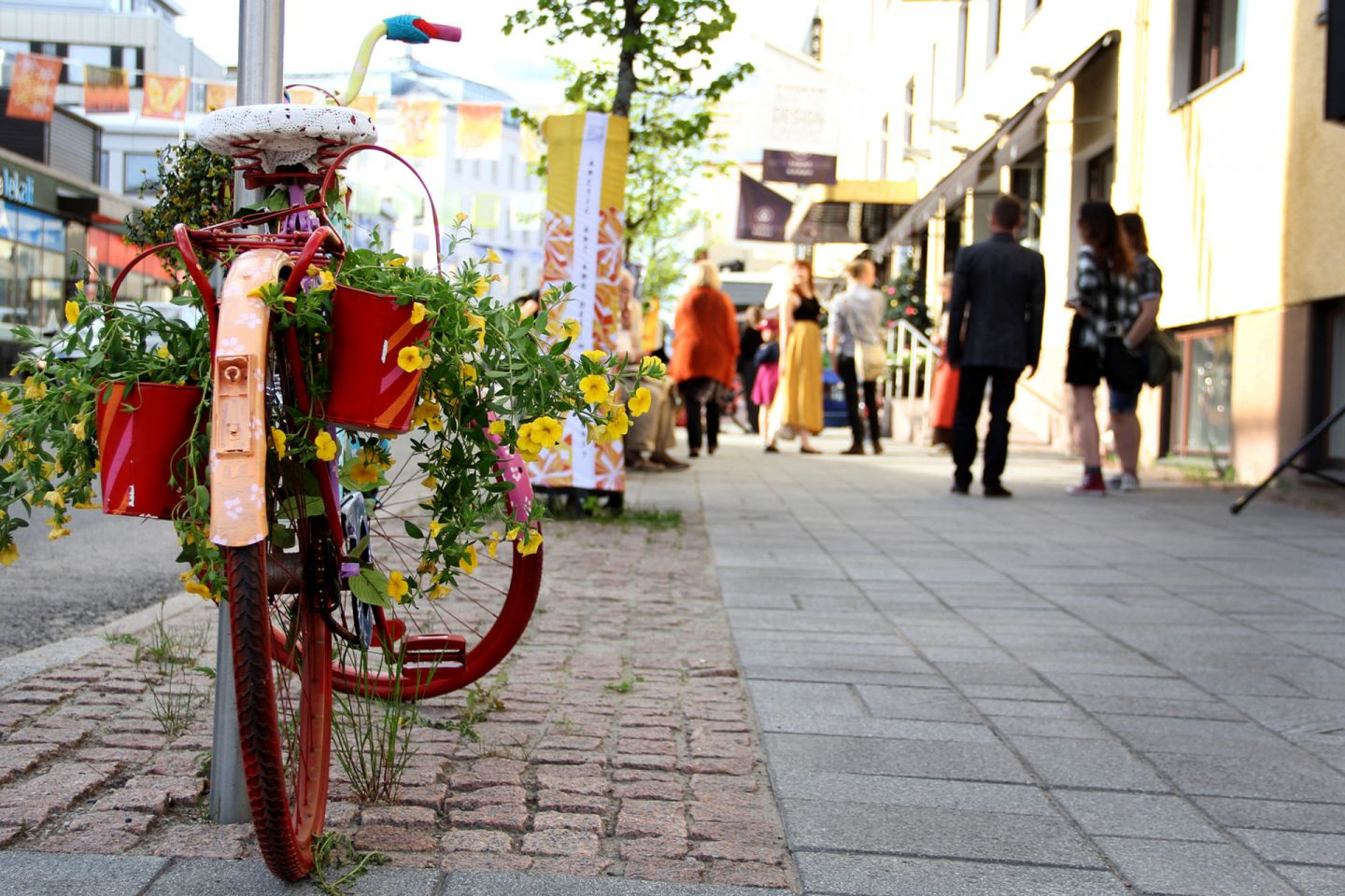 Bicycle art in downtown Rovaniemi, Finland
