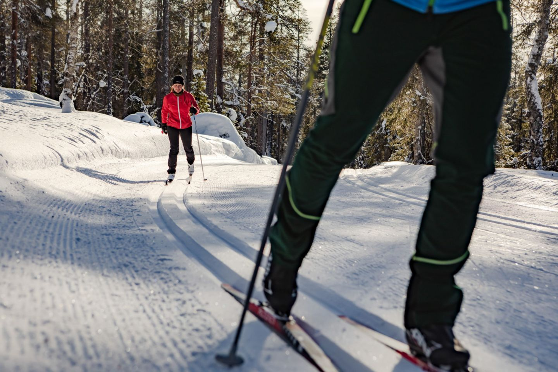 Skiing in Pyhä-Luosto, Finland in the off-season