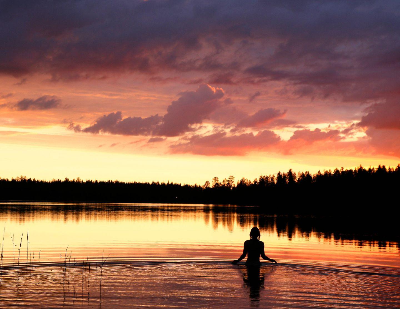 Going for a swim in Ruka-Kuusamo, Finland