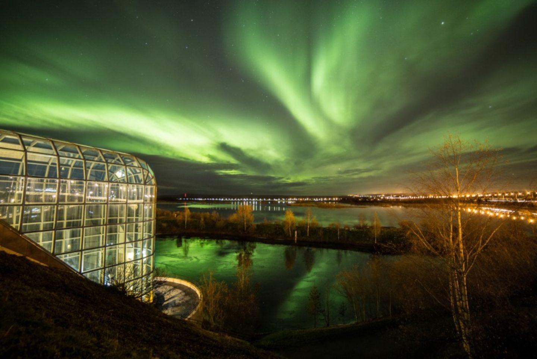 Auroras over Arktikum Museum in Rovaniemi, Finland