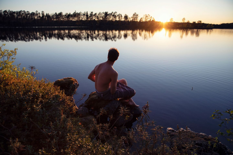 Enjoying the beach in Finnish Lapland