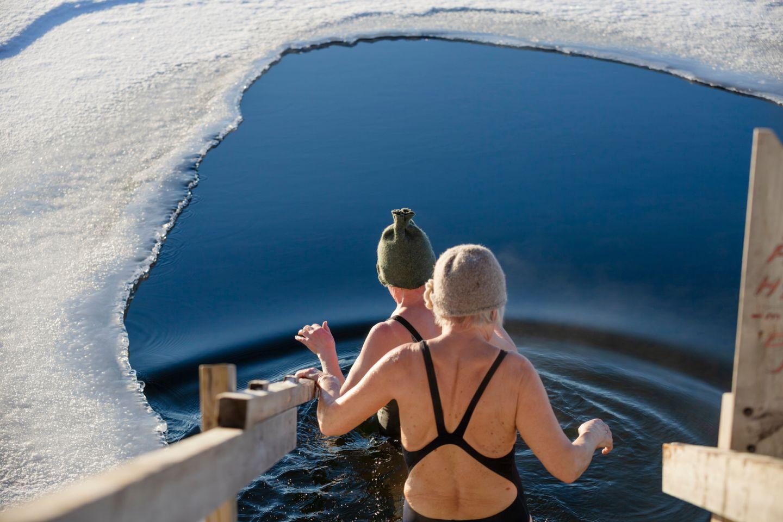 Ice-swimming in Salla, Finland