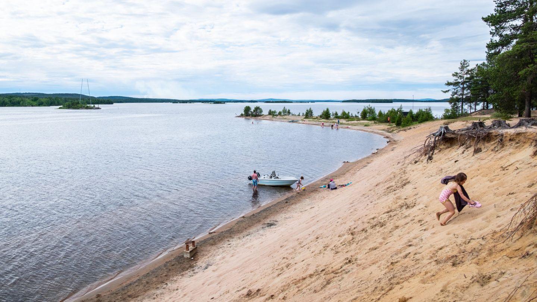 Enjoying the beach in Kemijärvi, Finland
