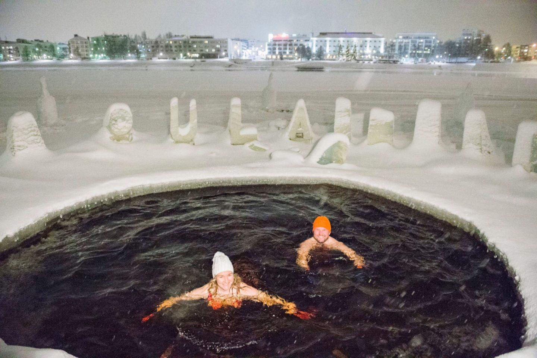 Ice swimming in Rovaniemi, Finland
