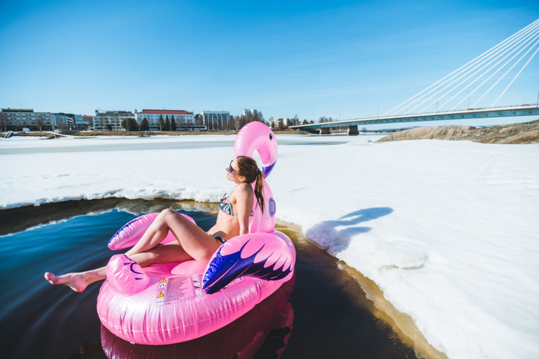 Enjoying a spring beach holiday in Rovaniemi, FInland