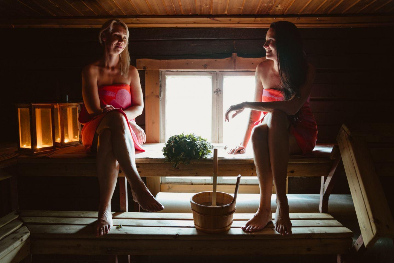 Enjoying the sauna in Rovaniemi, Finland