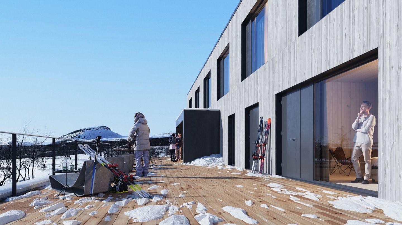 Havainnekuva uudesta hotellista Enontekiöllä Kilpisjärvellä Lapissa