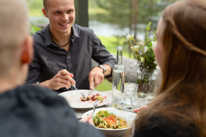 Enjoying a meal in Salla, Finland in summer