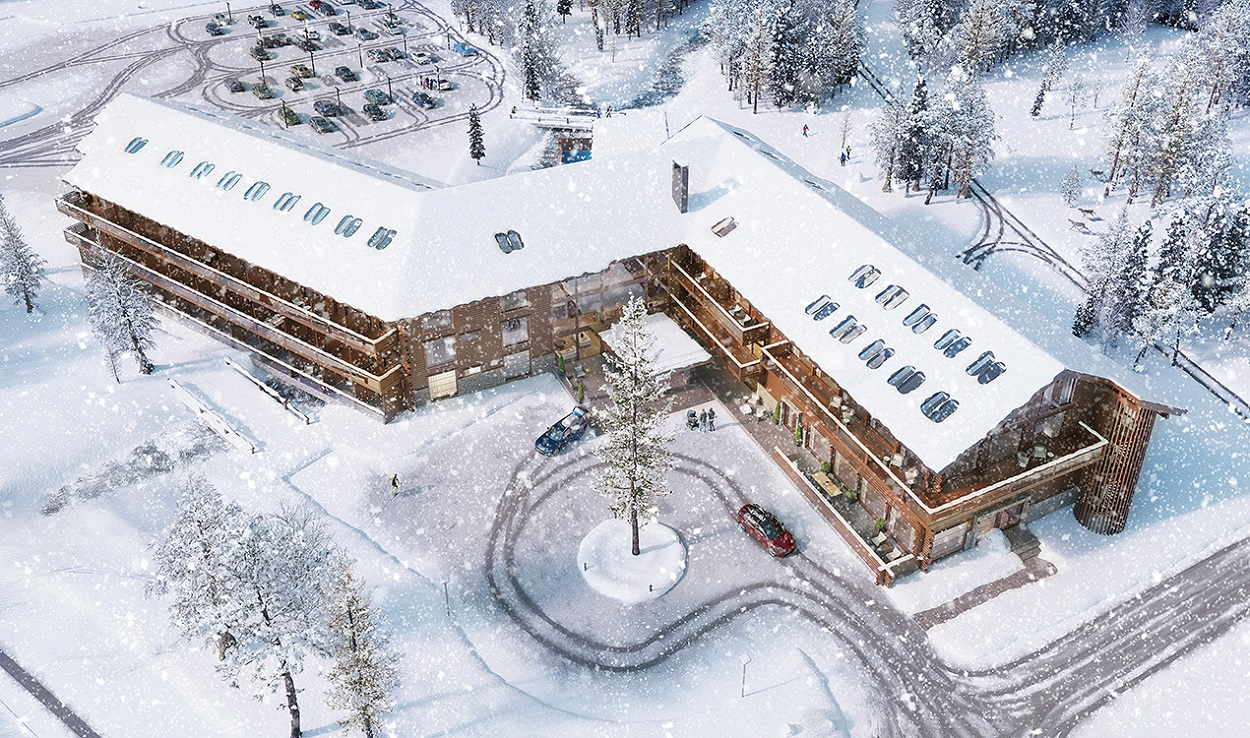 A picture of the planned Äkäslompolo Log hotel building from outside in Ylläs, Kolari, in the winter.