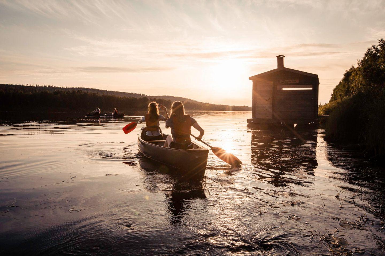 Canoeing in Rovaniemi, Finland in summer