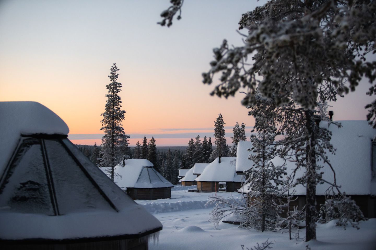 Polar night at Northern Lights Village, a special winter accommodation in Finnish Lapland