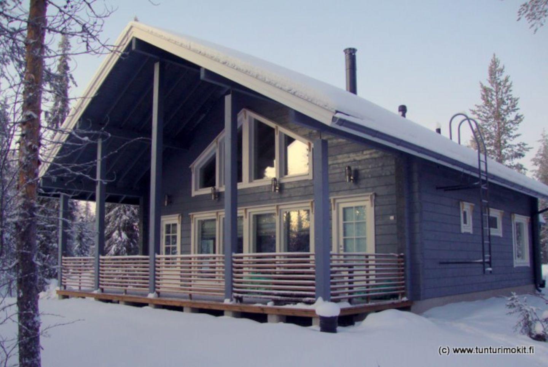 Log cabin in Salla, Finland in winter
