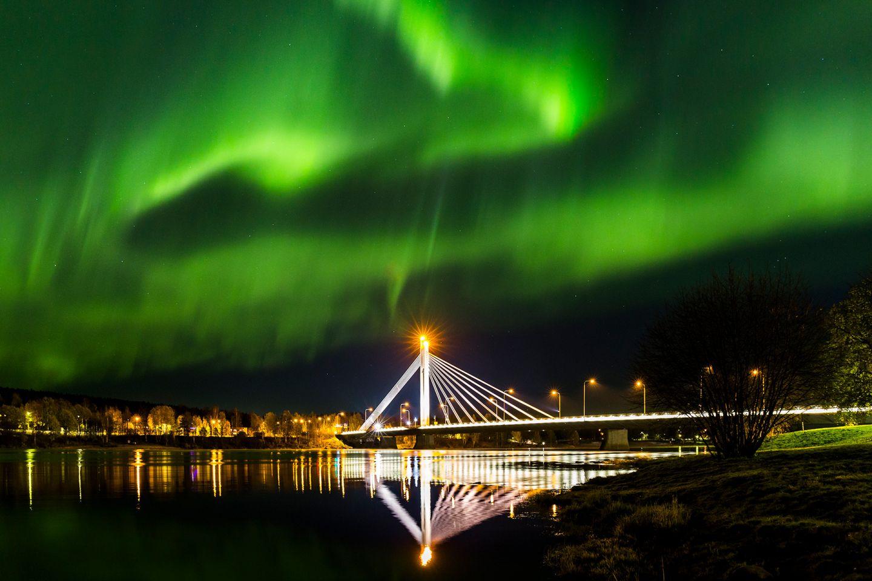 Northern lights over Rovaniemi, Lapland, Finland