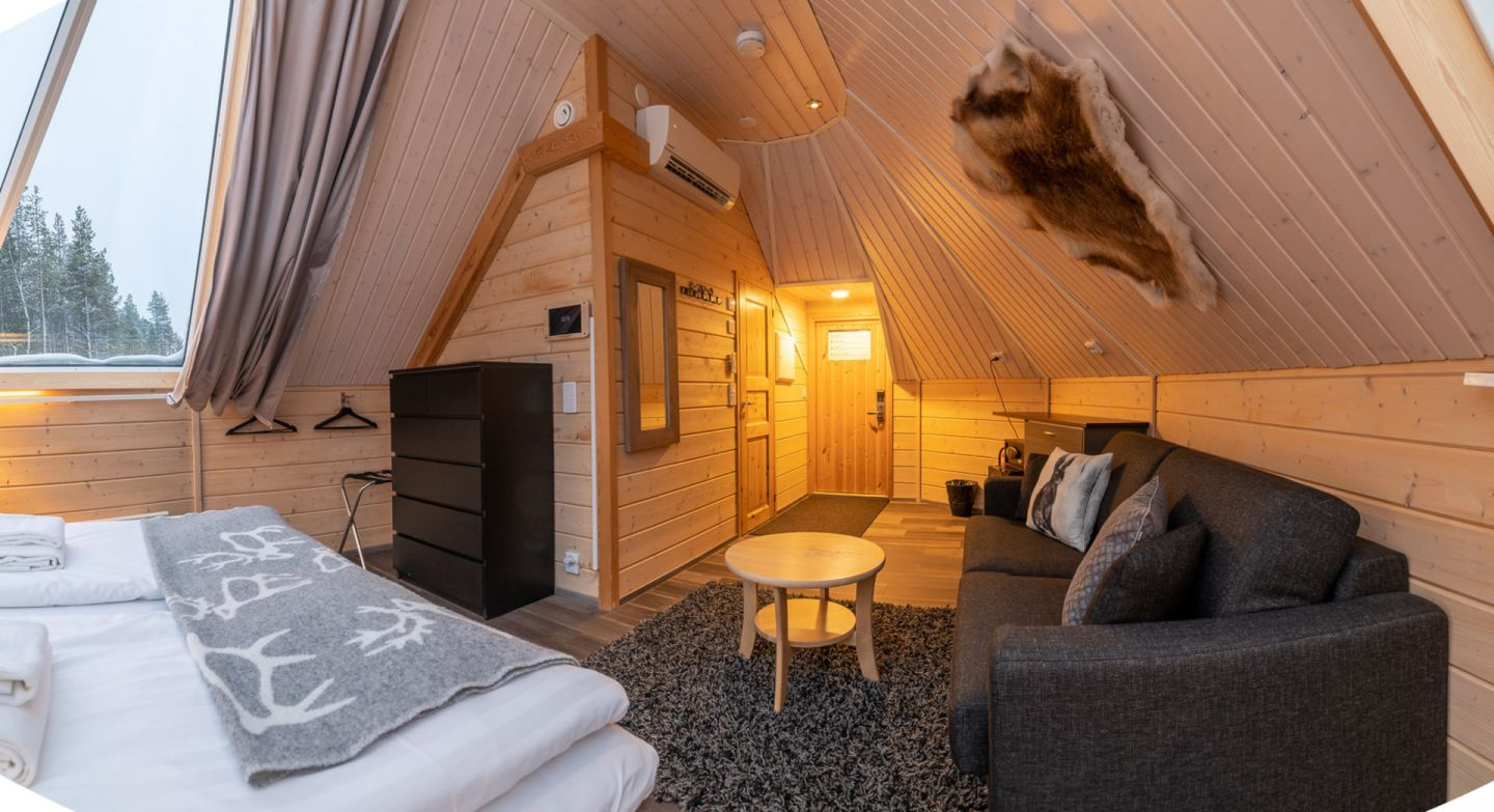 Inside a cottage at the Northern Lights Village, a special winter accommodation in Inari-Saariselkä