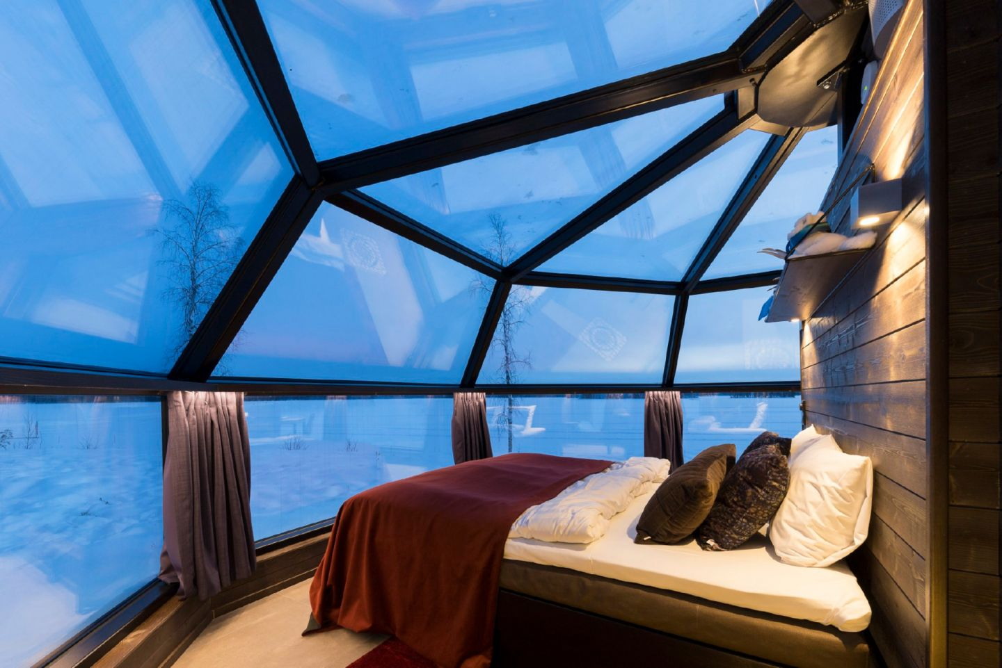 An evening view from Arctic Fox Igloos, a special winter accommodation in Finnish Lapland