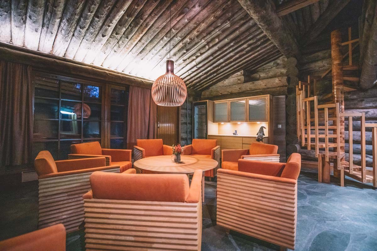 The common room at Santa's Log Villa Borealis, a special winter accommodation in Finnish Lapland