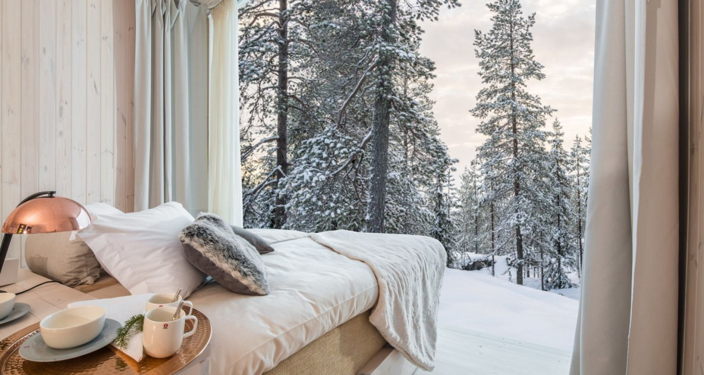 A winter day at the Arctic TreeHouse Hotel, a special winter accommodation in Finnish Lapland
