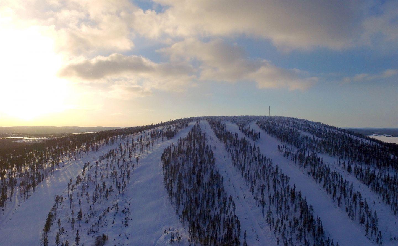 The slopes at the Suomutunturi Ski Resort in Kemijärvi, Finland