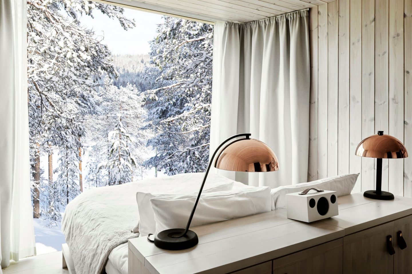A winter view from the Arctic TreeHouse Hotel, a special winter accommodation in Finnish Lapland
