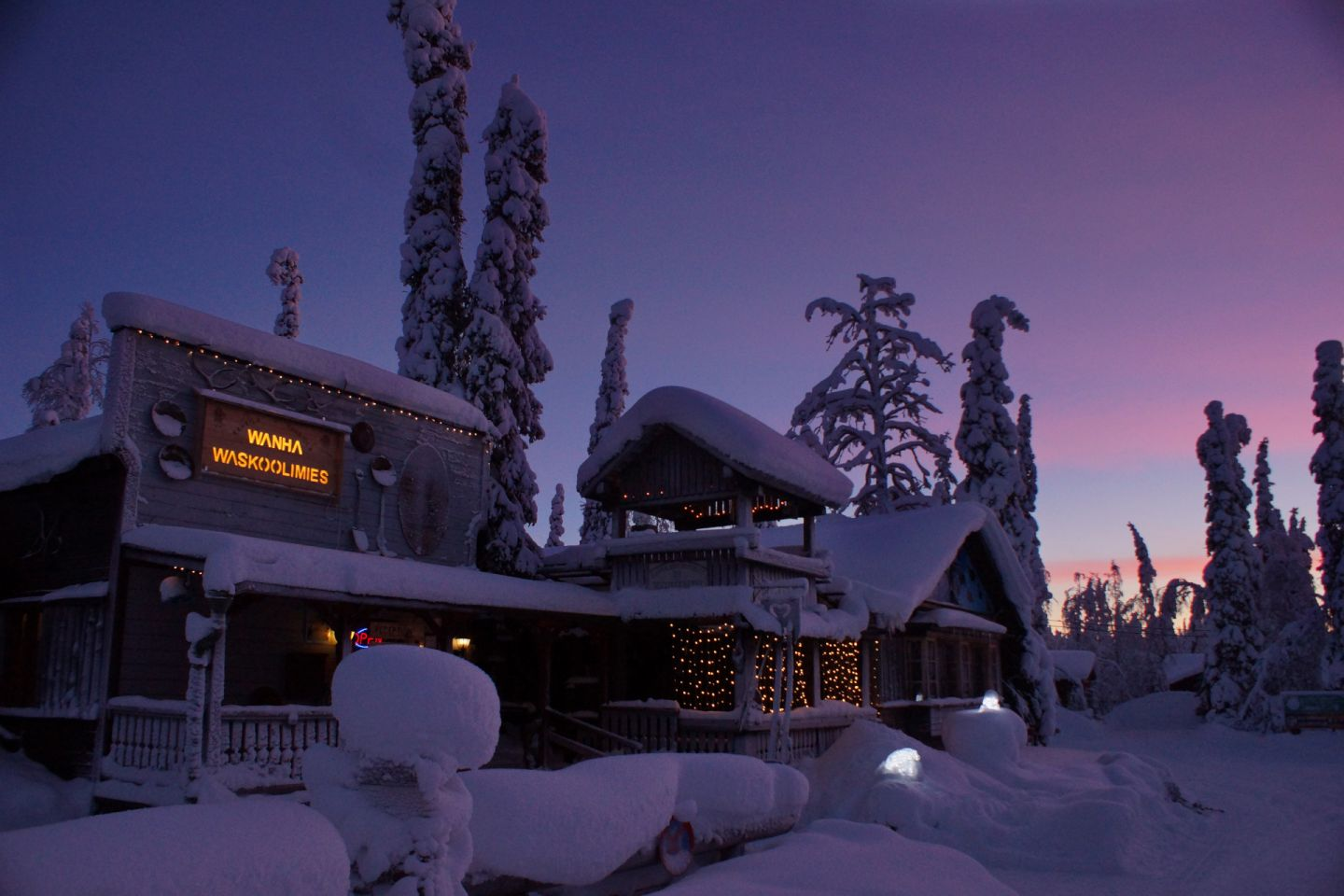 Polar night over the Tankavaara Gold Village, a special winter accommodation in Sompio, Finland
