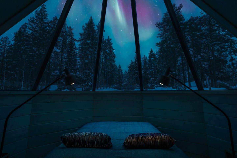 Auroras over Pyhä Igloos in Finnish Lapland