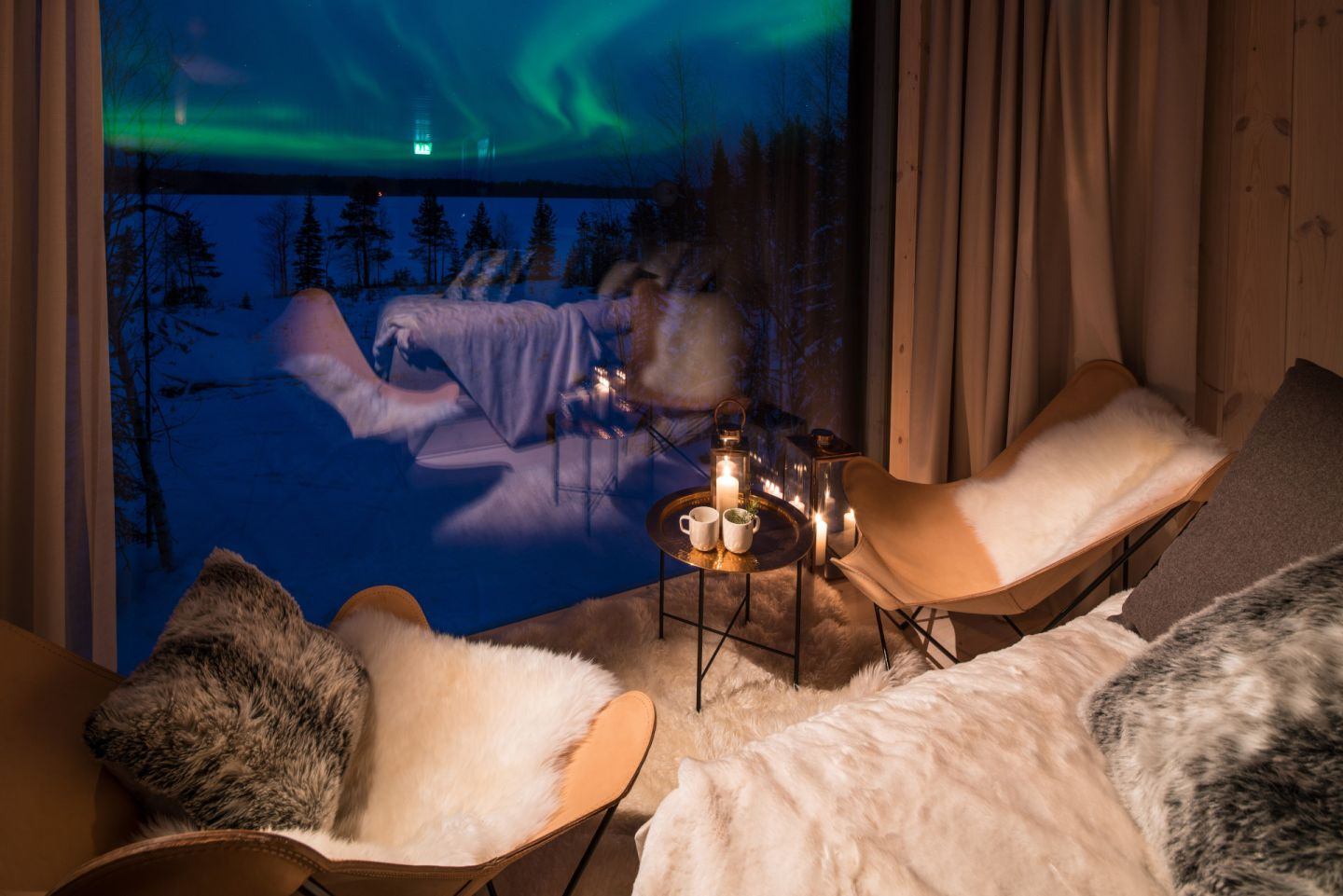 Northern Lights, as seen from the Arctic TreeHouse Hotel, a special winter accommodation in Rovaniemi, Finland
