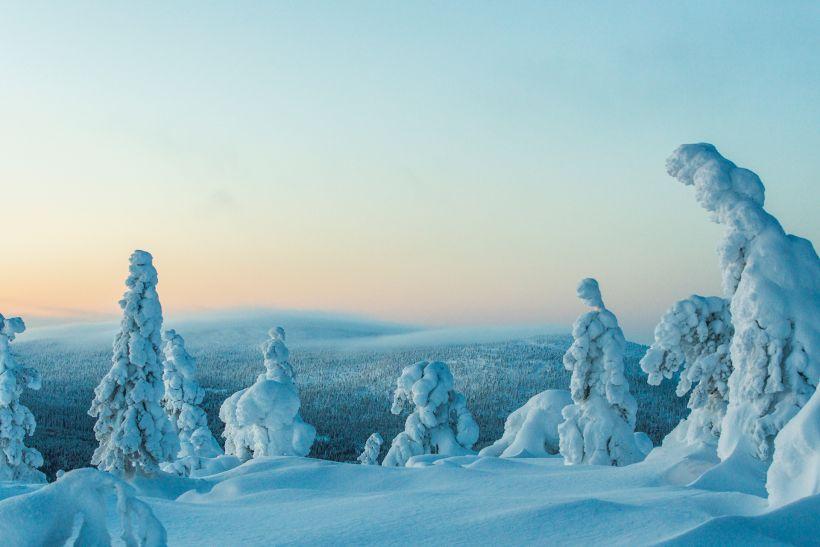Snow in winter on Sallatunturi Fell in Lapland, Finland