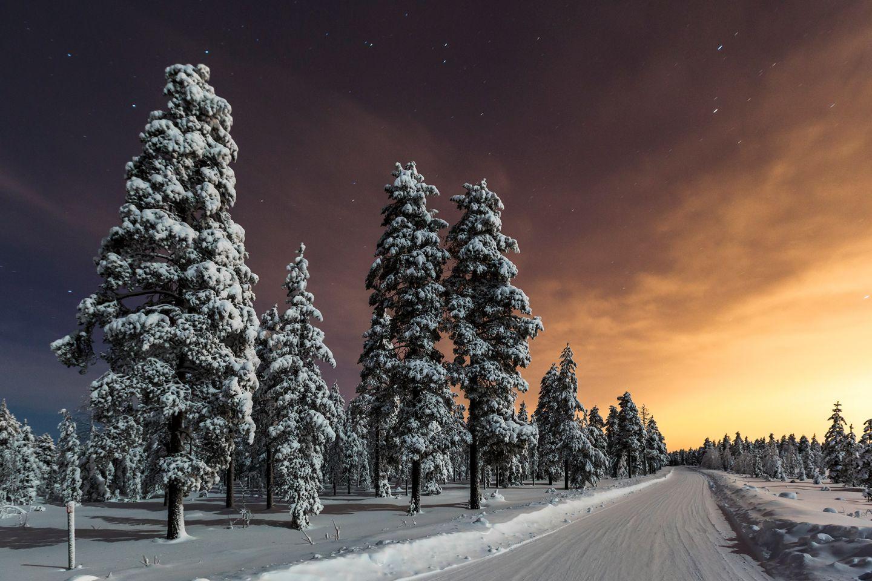 Road in Vennivaara, Rovaniemi, Lapland, Finland