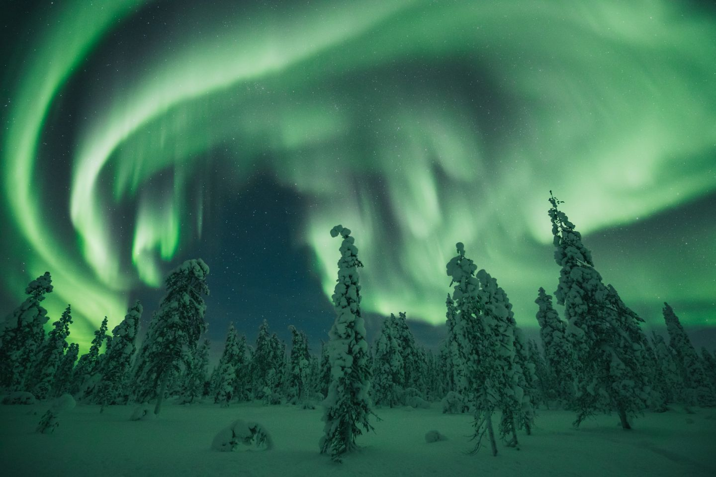 Northern Lights over Finnish Lapland in winter