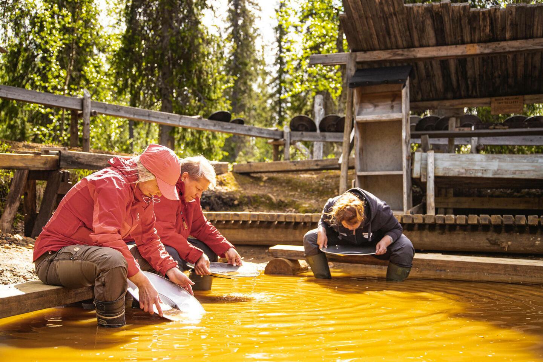 Gold panning in Tankavaara in Sodankylä, Lapland, Finland