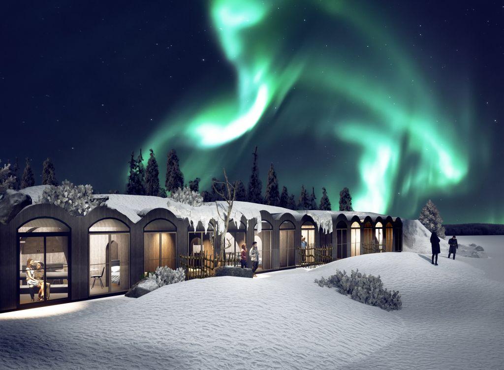 Digitaalinen kuva suunnitellusta Kammi-perheasunnosta Apukka Resortissa Rovaniemellä Lapissa. Pitkä rivi loma-asuntoja on kuvattu talvella, kun lunta on paljon ja revontulet ovat taivaalla.